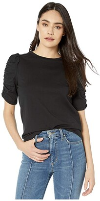 Kate Spade Ruched Sleeve Tee (Black) Women's Clothing
