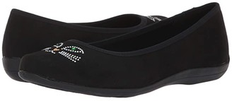 SoftStyle Soft Style Kittycat (Black Microfiber) Women's Slip on Shoes