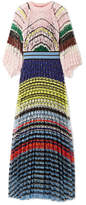 Missoni Pleated Crochet-knit Maxi Dress - Pink