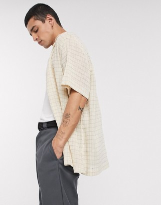 Asos DESIGN relaxed fit grid check shirt in hopsack fabric