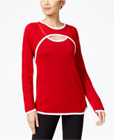 NY Collection Petite Mesh-Sleeve Keyhole Sweater