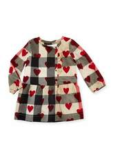 Burberry Alaya Heart & Check Button-Front Dress, Size 6M-3