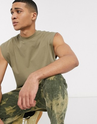 ASOS DESIGN oversized longline sleeveless t-shirt in khaki