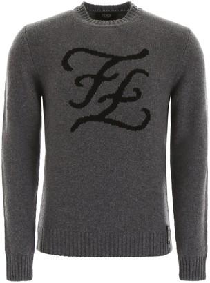 Fendi Karligraphy Logo Crew Neck Sweater