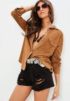 Missguided Brown Faux Suede Western Shirt