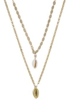 Ettika Double Cowrie Shell Layered Necklace Set