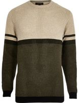 River Island Khaki Contrast Stripe Block Slim Fit Jumper