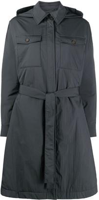 Brunello Cucinelli Tie Waist Hooded Coat