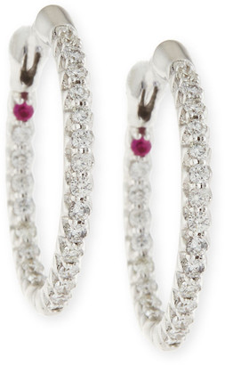 Roberto Coin XS Pave Diamond Hoop Earrings