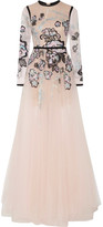 Elie Saab Metallic Embroidered Lace And Tulle Gown - FR36