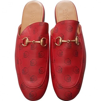 Gucci Princetown Red Leather Flats