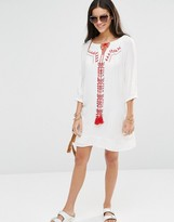 Brave Soul Long Sleeve Tunic Dress With Embroidered Panel