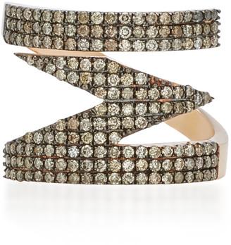 TULLIA Magic M 14K Rose Gold Diamond Initial Ring