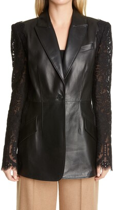 Alexander McQueen Lace Sleeve Leather Blazer