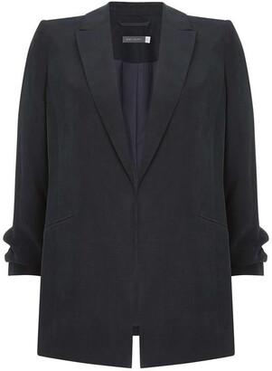Mint Velvet Navy Ruched Sleeve Blazer