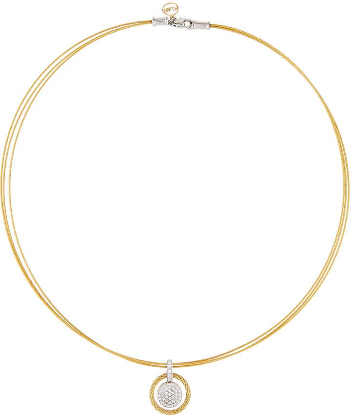 Alor 18k Pave Diamond Micro-Cable Circle Pendant Necklace, Yellow
