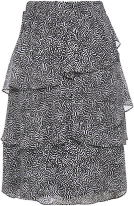 MICHAEL Michael Kors Tiered Printed Crepe De Chine Skirt