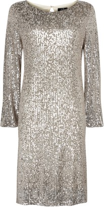 Wallis Champagne Sequin Shift Dress