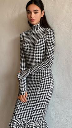 Norma Kamali Turtleneck Fishtail Ruffle Dress