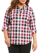 Allison Daley Plus Long Roll-Tab Sleeve Buffalo Plaid Button Front Shirt
