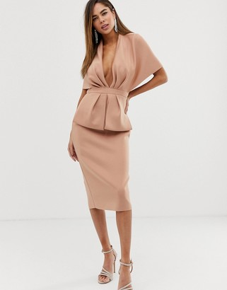 Asos Design DESIGN structured plunge kimono midi dress with peplum-Pink