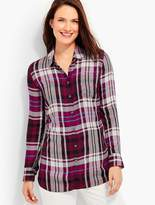 Talbots The Long Button-Back Shirt - Kasey Plaid