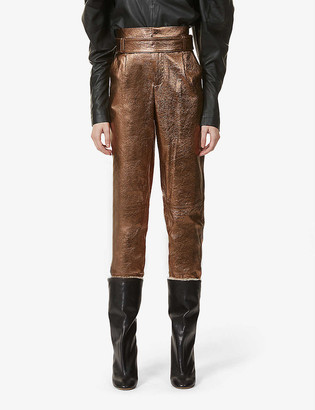 Alice + Olivia Gabrielle tapered high-rise leather trousers