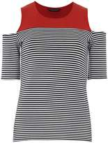 Dorothy Perkins Red stripe cold shoulder top