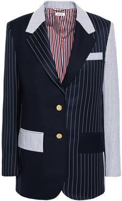 Thom Browne Patchwork-effect Striped Wool-twill And Seersucker Blazer