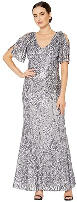 Alex Evenings Long V-Neck A-Line Dress with Cold Shoulder Flutter Sleeves (Silver) Women's Dress