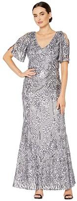 Alex Evenings Long V-Neck A-Line Dress with Cold Shoulder Flutter Sleeves