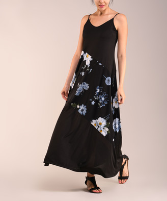 Lbisse Women's Casual Dresses Black - Black & Gray Floral Contrast-Panel Maxi Dress - Women