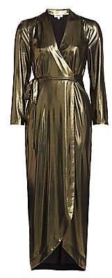 L'Agence Women's Reliah Lame Wrap Dress