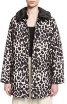 Marc Jacobs Leopard-Print Coat with Faux-Fur Collar, Ivory/Multi