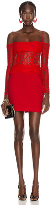 Rasario Cold Shoulder Mini Dress in Red | FWRD