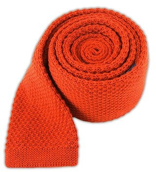 Tie Bar Knit Solid Wool Dark Rust Tie