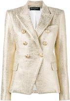 Balmain double breasted lame jacket - women - Cotton/Viscose - 38