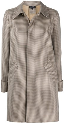 A.P.C. Concealed Button Down Checked Coat