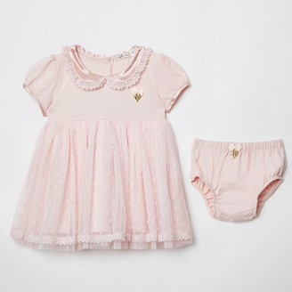 River Island Baby Angels Face Pink dress and knicker set