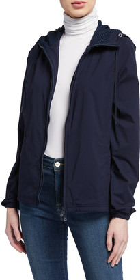 Anatomie Gia Zip-Front Hooded Jacket w/ Racing Stripe Detail