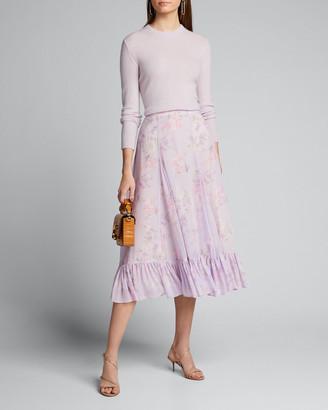 LoveShackFancy Lil Floral-Print Flounce Midi Godet Skirt