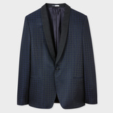 Paul Smith Men's Mid-Fit Navy Wool-Blend Paisley Jacquard Shawl Collar Blazer