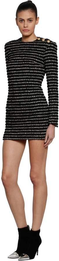 Balmain Tweed Mini Dress W/ Buttons