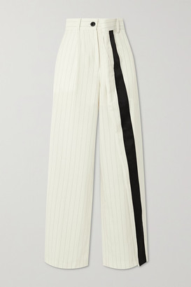 Sacai Wrap-effect Pinstriped Wool-blend Wide-leg Pants - White