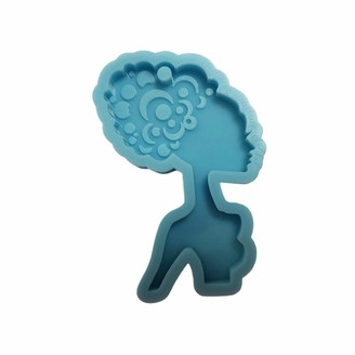 Tjian Keychain Casting Silicone Mould DIY Crafts Jewelry Pendant Making Tools Super Glossy Woman Head Epoxy Resin Mold