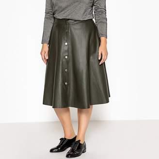 Castaluna Plus Size Flared Faux Leather Midi Skirt