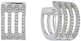 Carriere Sterling Silver 4-Row Diamond Huggie Earrings - 0.41 ctw