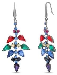 Steve Madden Women's Multi-Color Rhinestone Teardrop Black-Tone Earrings
