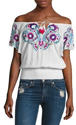 Parker Sasha Embroidered Off-the-Shoulder Top