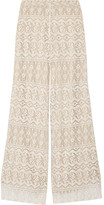 Alice + Olivia Athena Cotton-blend Lace Wide-leg Pants - Ivory
